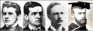 미국과 호주 각 교단이 파송한 최초의 한국 선교사들(우로부터 좌로) : 미국 북장로교 언더우드 선교사, 미국 북감리회 아펜젤러 선교사, 미국 남장로교 레이놀즈 선교사, 호주 장로교 데이비스 선교사