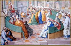 삼위일체 교리 / 325년 니케아 공의회의 핵심은 삼위일체의 본질에 관한 것으로 성자와 성부는 어떠한 관계에 있는가를 규명하는 것이었다. 이 논쟁을 통하여 381년 콘스탄티노플 공의회는 성부와 성자와 성령의 관계를 바로 규명한 서방의 아타나시우스의 신조를 인정하여 정통교리로 채택하였다.(그림은 니케아 공의회 모습)