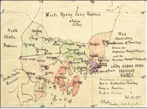 19세기 후반 경남과 부산 지방 선교지 분담지도, 호주 선교사 왕길지(Gelson Engel,1864-1939)가 직접 그린 것이다.