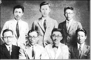 일본 유학시절의 김재준(뒷줄 왼쪽)과 송창근(앞줄 바른쪽 두 번째)