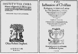 칼빈의 기독교강요 표지, 초판(1536), 제4판(최종판 1599)